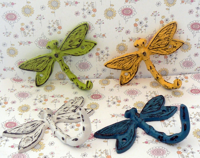 Dragonfly Set 4 Hooks Cast Iron Shabby Chic MINI Wall Hook Green White Blue Yellow