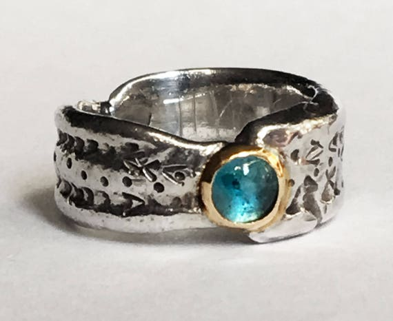 ON SALE!!  Sterling Silver, Gold and Blue Topaz Cuttlefish Cast Mermaid Ring