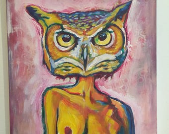 Hooter with Hooters Acrylic Painting 16 x 20 inches