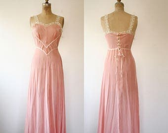 vintage lingerie / peach nightgown / Kickernick lace up gown