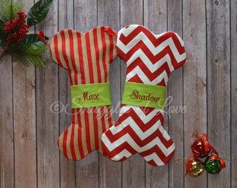 Dog Christmas Stockings - Personalized Dog Stockings, Embroidered Dog Christmas Stockings, Bone Shaped Stocking for Dogs, CUSTOM MADE