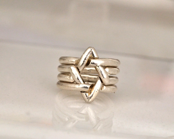 Star of David,4 Piece Puzzle ring , Sterling silver. Unisex. Bar mitzvah unique Jewish gift. Geometric power ring.