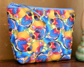 Love Birds Galore Cosmetic /  Make Up / Organizer Bag / Cell Phone Pouch / Blue Birds