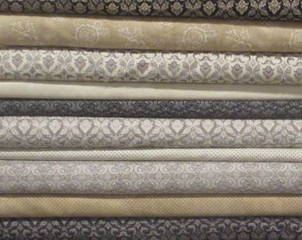 Black Grey Tan - Black Tie Affair Half Yard Fabric Bundle - Moda - BasicGrey
