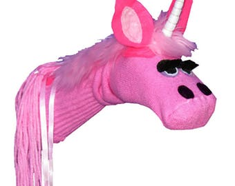SALE Handmade Pink Unicorn Sock Puppet