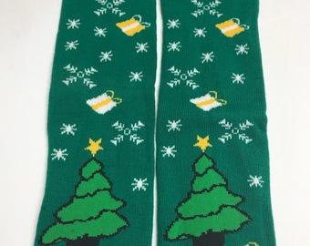 Handmade Baby Toddler Child Leg Warmers / Arm Warmers - O Christmas Tree
