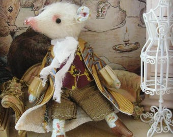 "Mouse Doll - ""Mr. Foster Beeman"" - 5-6"" Tall - 1:12 Dollhouse Scale Fancy Rat Art Doll"