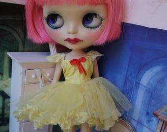BLYTHE DRESS -  Sweetheart Candy, Flirty Ballerina Tutu Hand-Dyed Silk Dress - Vintage Yellow