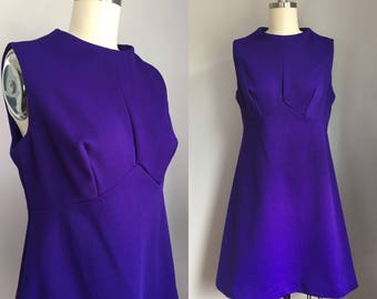 Mod Vintage 1960s Purple Baby Doll Mini Scooter Dress Size Small