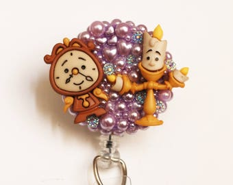Beauty And The Beast Cogsworth and Lumiere ID Badge Reel - Retractable ID Badge Holder - Zipperedheart
