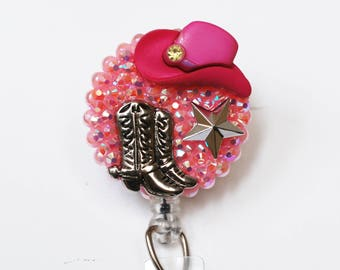 For Cowgirls Only In Pink ID Badge Reels - Retractable ID Badge Holder - Zipperedheart