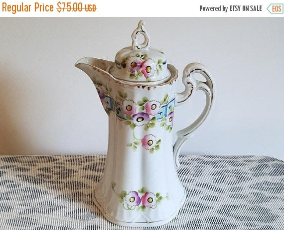 Christmas in July Sale Antique Nippon Japan Te-Oh China hand painted porcelain ceramic lidded tea pot pitcher