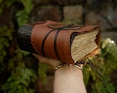The Book of Words - Rustic Leather Journal, Hand Embossed, Aged Paper - OOAK