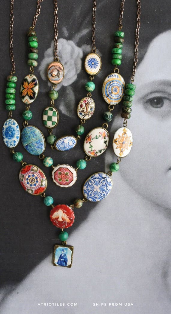 Layered Necklace Portugal Azulejo Tile Necklace 3 in One Convertable  Bib STATEMENT OOAK Majolica Mosaic History Ethnic Persian Jasper Beads