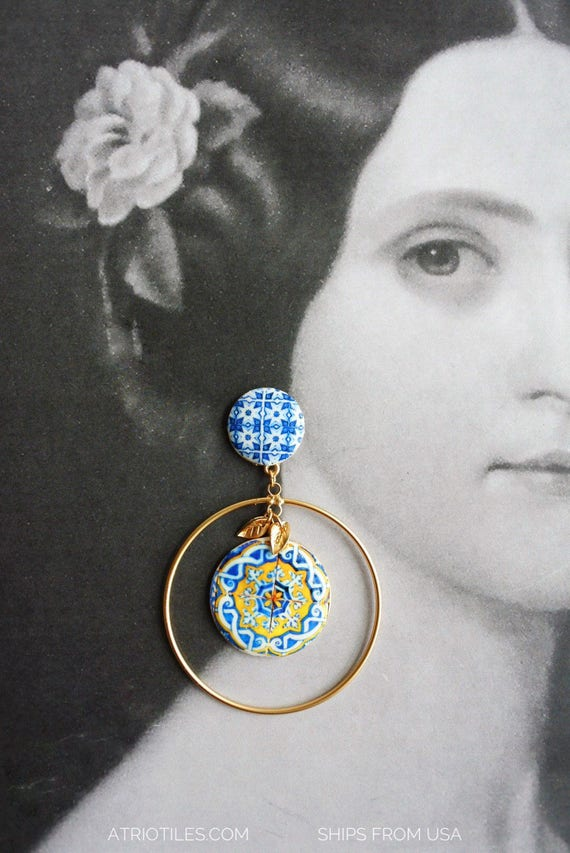 Hoop Earrings Baroque Portugal Tile Majolica Ceramic Fashion Style - Ships from USA