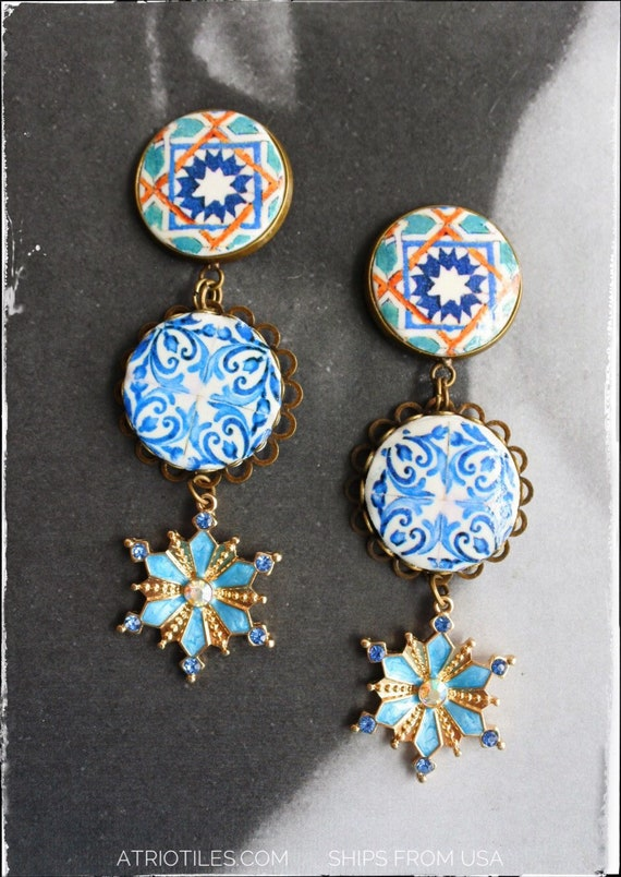 Earrings Tile Arab Hispanic Portuguese Portugal 16th Century Azulejo Arista Persian Santa Clara in Coimbra, 1314 and Porto Blue