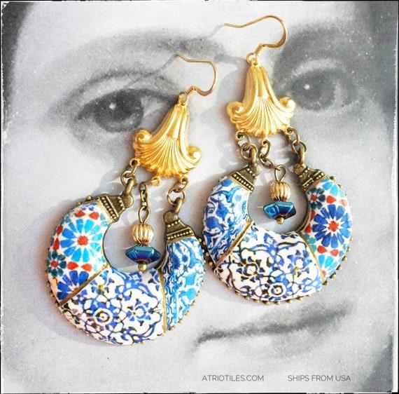 Earrings Chandelier Persian Tile Arab Portugal Azulejo Bohemian Persian Boho Tribal Qashani Gypsy Ethnic Surgical Steel Moroccan Turkish