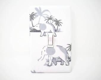 Elephant Light Switch Cover - Elephants Switch Plate - Grey Nursery Decor - Gray Elephant Girls Room - Boys Elephant Nursery -