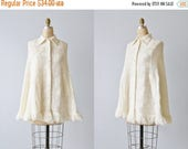 SALE Vintage White Crochet Cape Poncho / Fringe / Button Cape / Buttercream / Size Small to Medium