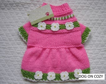 Flared Skirt Dog Sweater, Hand Knit Pet Sweater Dress, Size SMALL, Sweetie Pink