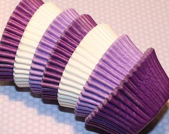 NEW - Lavender, Purple & White Heavy Duty Cupcake Liner Collection (Qty 30)Lavender Cupcake Liner, Purple Cupcake Liner, White Cupcake Liner