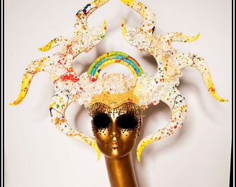 Rainbow Blossoming Horns ... Horned Headdress in White with Rainbow Splatters and Flowers Gay Pride