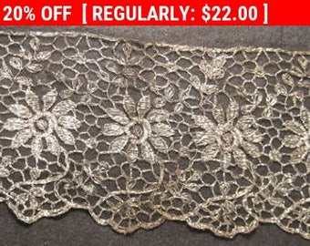 Antique Tulle Metallic Lace Trim Flapper 1920s