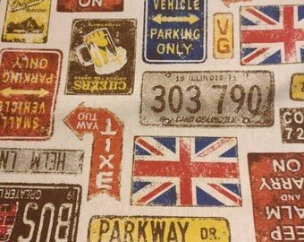 British Signs Fabric - Cosmo Textiles - Japanese Import Fabric - Union Jack Fabric - Linen Cotton Fabric - Natural Street Signs Linen Pub