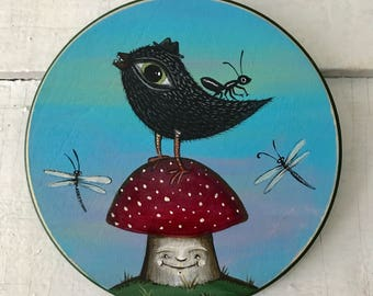 big eyed bird on a mushroom with an ant and some dragonflies original painting