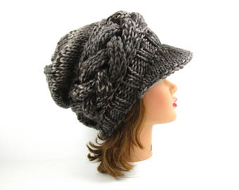 Women's Newsboy Hat - Cable Knit Cap - Smoky Quartz Cap - Chunky Hat - Brimmed Beanie - Slouchy Hat With Visor - Knit Accessories