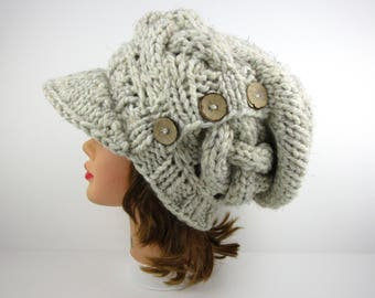 Knit Newsboy Hat With Buttons - Women's Slouchy Cap - Cable Knit Cap - Wheat Hat - Visor Beanie - Chunky Beanie With Brim - Wool Blend Hat