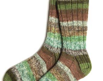 Handknit Socks for Women, Teen Girls, Ladies Socks, wool socks, gift for women, knitted socks, green brown socks, striped socks, DK weight