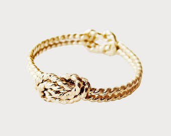 14K Yellow Gold Dainty Secret Love Knot Promise Ring