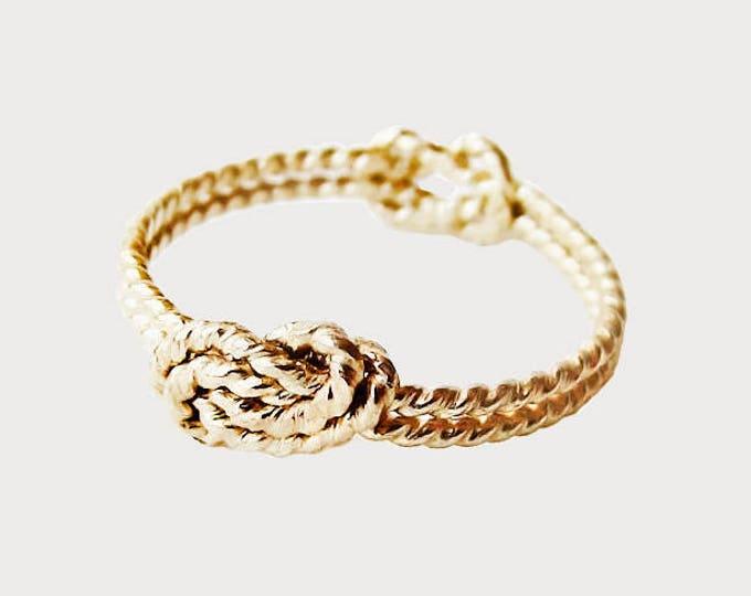 14K Yellow Gold Delicate Secret Love Knot Promise Ring