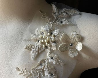 IVORY 3D lace Applique  #1, Beaded and Embroidered for GRAD, Lyrical Dance, Ballet, Couture Gowns, Costume Design