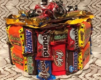 Candy Bar Birthday Cake, Candy Cake, Candy Birthday Cake, Candy Centerpiece, Candy Gift, Table Centerpiece, Party Favor