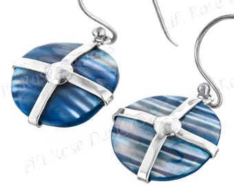 "5/8"" Blue Mother Of Pearl Turbo Shell 925 Sterling Silver Earrings"
