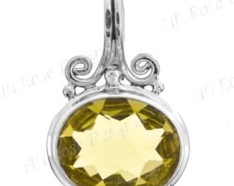"""15/16"""" 5ct Lemon Quartz 925 Sterling Silver Pendant"""