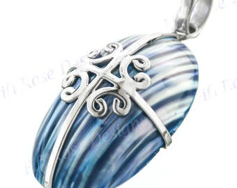 "1 9/16"" Blue Mother Of Pearl Turbo Shell 925 Sterling Silver Pendant"