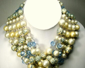 MARVELLA 5 FULL Strands White & Pale Yellow Pearl Bead CHOKER Necklace,  Chain Linked Textured Blue N Pearl Beads also, Designer Fabulous