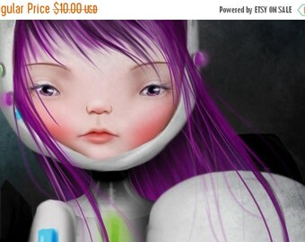 50% Off SALE 5x7 Art Print - 'Aurora' - Cute Little Sad Eyed Girl - Giclee Art Print by Jessica von Braun - small print - Little Robot Girl