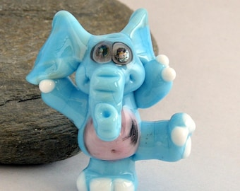 BLUE Elephant  Glass Sculpture Collectible, Focal Bead, Pendant, Izzybeads SRA