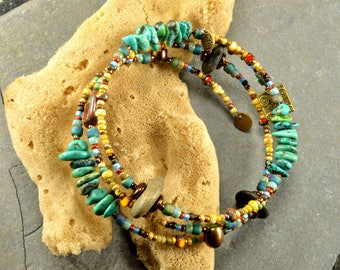 Tibetan turquoise and genuine Maine sea / beach stone adjustable wrap bracelet funky colorful fashion forward jewelry
