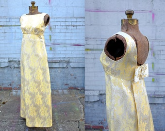 60's Gold Brocade Tapestry Dress