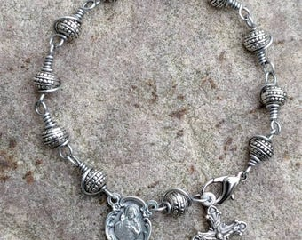 Tibetan Silver One Decade Rosary Bracelet~FREE SHIPPING!