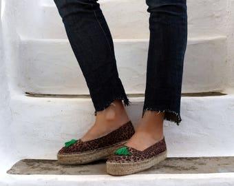 Leopard Print Jute Espadrilles with Tassel. Summer Handmade Fabric Slip On Shoes. Women's Shoes. Greek Sandals. Gift for Women
