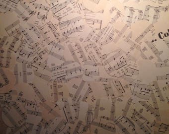 """100 Large 2"""" Die Cut Circles from Antique Sheet Music for Paper Crafting"""