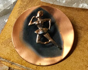 Large Genuine Copper Ballerina Figural Disk Brooch Pin Unsigned 1970's 1980's Round Circular Copper Black Dark Patina Smooth Finish