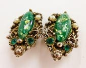 Vtg MCM Confetti Lucite Clip-On Earrings w Pearls & Rhinestones Green