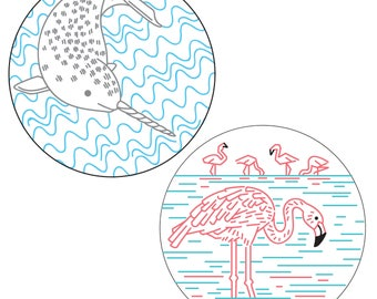 Narly Narhwal and Flamboyant Flamingos PDF Embroidery Pattern Pack 2